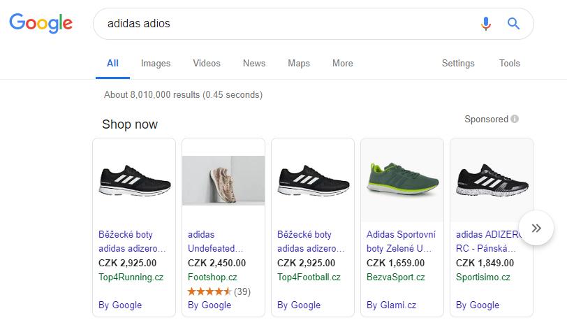 google shopping výsledky