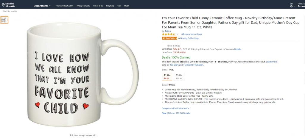 ukážka šálky predávanej cez Amazon