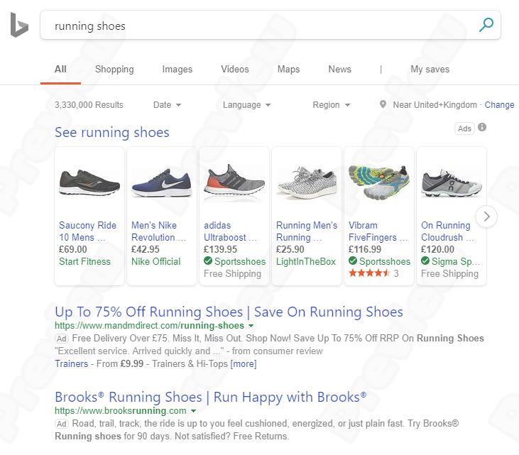 Ukážka Bing Ads reklamy