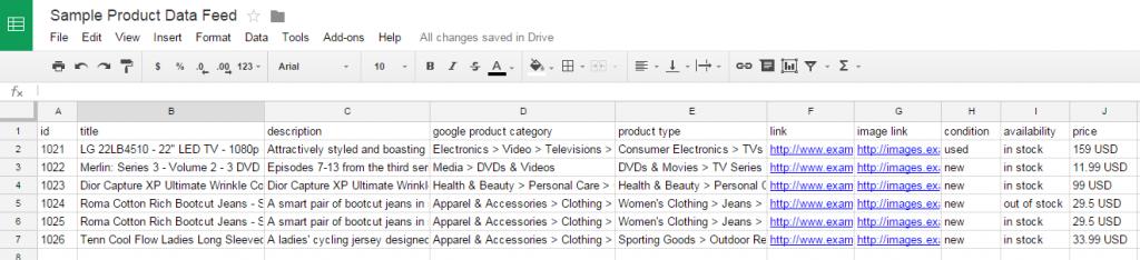 Tabuľka Google Shopping Feed