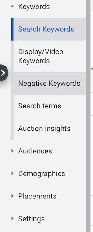 kľúčové slová - google ads účet