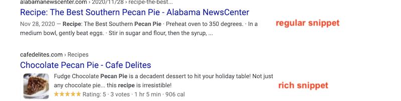 bežný úryvok vs podrobný úryvok na Googli